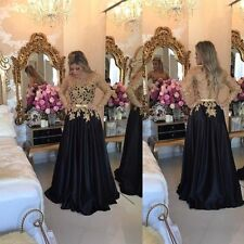 2017 Black Long Evening Dress Wedding Ball Party Formal Prom Gown With Appliques
