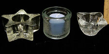 Textured Clear Glass Candle Holders Votive Style Avon 5 Point Star Lot of 3