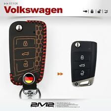 Leather Key fob Holder Case Chain Cover FIT For VW GOLF POLO TIGUAN Beats Ver.