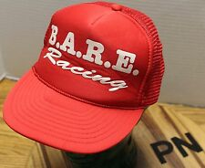 VINTAGE B.A.R.E. RACING SNAPBACK TRUCKERS STYLE HAT RED/WHITE GUC PN