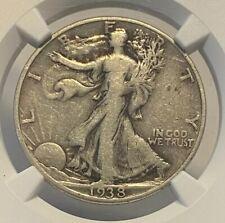 1938 D Walking Liberty Silver Half Dollar Ngc F12 Graded  Certified