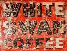"TIN SIGN ""White Swan Coffee"" Caffeine Deco  Garage Wall Decor"