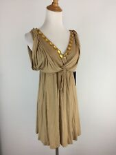 NWT BCBG Max Azria Womens S Small Gold Beige Embellished Belted Waist Shirt Top
