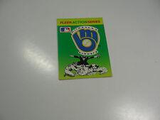 1990 Fleer Baseball Logo Stickers Milwaukee Brewers Baseball Quiz on back