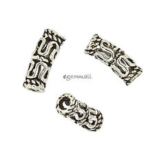 4 Antiqued Bali Sterling Silver Art Textured Curved Tube Spacer Beads #99108