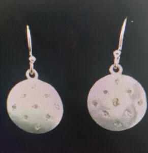 .15 CTW round diamond dangle earrings in 925 Sterling silver