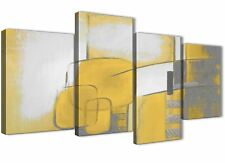 Large Mustard Yellow Grey Painting Abstract Bedroom Canvas Decor - 4419 - 130cm