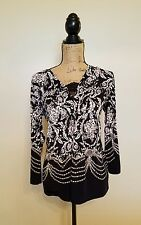 SOMA Tunic Top Black White Jersey Empire Waist V-Neck Lace Trim Casual S