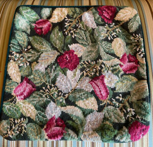 Vintage Needlepoint Pillow Cover - 14 X 14 - Leaves And Pink Rosebuds - EUC