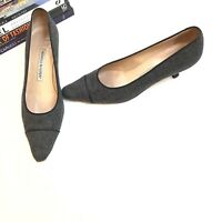 Manolo Blahnik Heels 38.5 Gray Wool Black Kitten Pump Women's Career 8.5