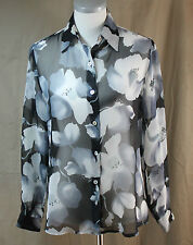 Impressions, Small, Multi Floral Sheer Button Front Top