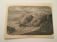 KP13) Botallack Mine West Devon Mining Cornwall England 1887 Engraving