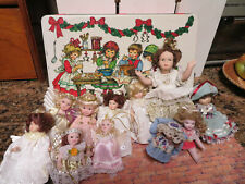 """Collectibles Christmas Angels ornaments dolls in Vintage tin box-lot of 10-5"""""""