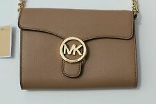 NWT MICHAEL KORS VANNA LARGE PHONE CROSSBODY SHOULDER BAG DARK KHAKI LEATHER