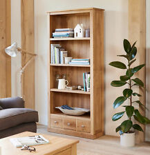 Baumhaus Mobel Oak Large Bookcase with 3 Drawers - Solid Oak