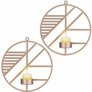 Wall Mounted Candle Sconces Holder Set of 2 Round Candle Holder for Rose Gold