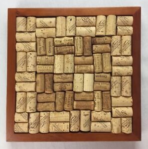 "Wine Cork Memo Board Framed Wall Art Jewelry Organizer Shabby Chic 12"" x 12"""