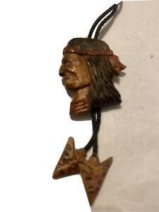 Wood Spirit Carving Western Old Bolo Tie Native American Indian Head Arrowheads