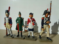 Starlux, lot of 4 Napoleonic French Guard infantry soldiers 60mm Lady, metal v9