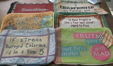 Lot of 6 Tapestry Pillow Cover Shells Funny Sayings Butter My Butt, Stress +++
