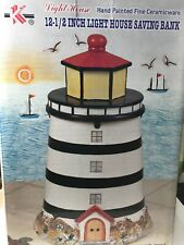 Vintage  - Light House 12-1/2 Inch Saving Bank - Hand painted Fine Ceramicware