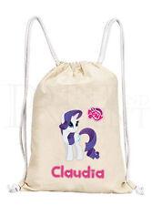 Personalised Girls My Little Pony MLP Rarity Drawstring Canvas Gym/ PE Bag