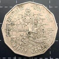 1988 AUSTRALIAN 50 CENT COIN FIRST FLEET TALL SHIPS NEW HOLLAND BICENTENARY - VF