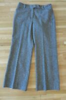 Women's Ann Taylor Sz 8 Tweed Brown Wool Blend Wide Leg Trouser/Pants/Slacks EUC