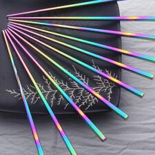 1  Paar Reusable Rainbow Stäbchen Metall Chinesische Edelstahl Chop Stic FDQ