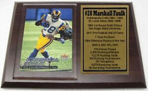 St Louis Rams Marshall Faulk Fleer Football Card Plaque