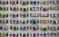 Wholesale Lots 36pcs Stainless Steel Mixed Colorful Enamel Cool Mens Rings Gifts