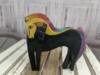 "Laurel burch United design art decor horse equine embracing black 8"" southwest"