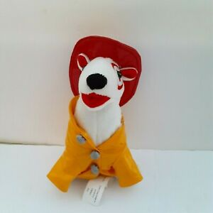 """Target Bullseye Fireman Yellow Jacket Red Hat 62 Bull Terrier White Dog Plush 7"""""""