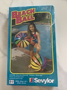 Sevylor 20 Inch Multi Color One Beach Ball Striped Pool Toy Vintage Summer New