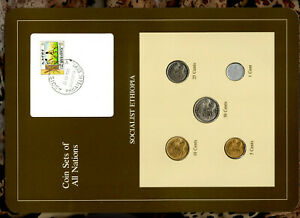 Coin Sets of All Nations Ethiopia w/card 50,25,10,5,1 cent 1977 UNC British Mint