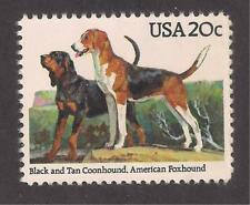 Dogs - Black & Tan Coonhound + American Foxhound On A U.S. Postage Stamp