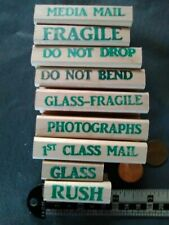 9 Rubber Stamps Office Business Post Fragile Photographs Glass Do Not Bend
