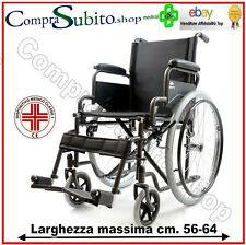 Sedia a rotelle carrozzina comoda autospinta pieghevole  AMPIA SEDUTA  48cm