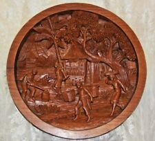 """Large 19"""" Round Wood Hand Carved  Wall Plaque Wall Art Hanging Decor Scenic"""