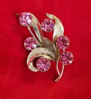 Vintage HOLLYWOOD Floral Spray goldtone Pink Crystal Costume Brooch Pin
