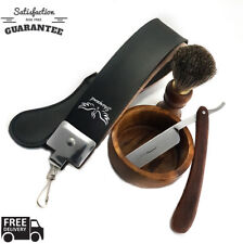 Shaver Kit Straight Razor Bristles Shaving Brush Leather Strop Wood Box Gift Set