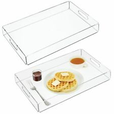 mDesign Acrylic Rectangular Serving Tray with Handles, Medium, 2 Pack - Clear