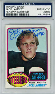 Jack Lambert Signed Steelers 1976 Topps Rookie Card #220 HOF PSA Slab 32213