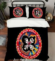 3D Kiss Rock Band Quilt Cover Set Pillowcases Duvet Cover 3pcs Bedding 56