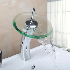 Bathroom Round Glass Waterfall Spout Basin Faucet Mixer Tap Deck Mounted Chrome