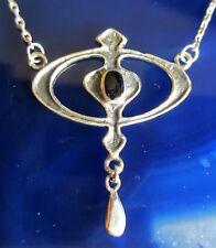 Collar Cadena Círculo Ovalo ÓNIX NEGRO Piedra De Aries Plata Esterlina 925