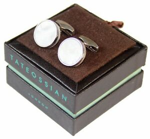 Tateossian London Men's White Mother of Pearl Circle Cufflinks, Pearl/ Silver
