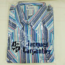 Mens XL Western Shirt Long Sleeve Pearl Snap Striped Jacques Carpentier Rodeo