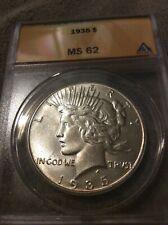1935 Peace Silver Dollar MS 62 Anacs