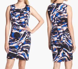Calvin Klein M31BY983 Bittersweet Celestial Blue Pleat Neck Stretch Dress, 6R